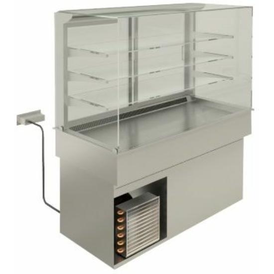 Ventillációs hűtésű beépíthető medence vitrinnel és alsó hűtőszekrénnyel